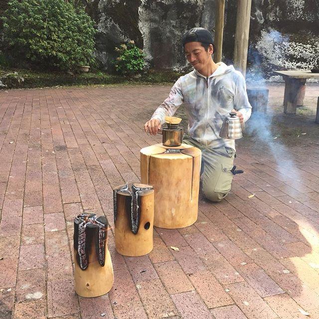 谷からの天然水でコーヒータイム!
