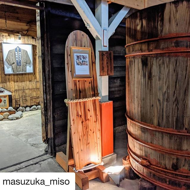 #Repost @masuzuka_miso with @get_repost・・・-木桶サーフボード-カリフォルニアに渡った後、先日までは直売店に飾ってありましたが、今は慣れ親しんだ味噌蔵の中に帰ってきました。蔵見学にお越しの際はぜひご覧下さい!もし無い場合は、海に行っていると思って下さいw#桝塚味噌 #木桶再生プロジェクト #サーフボード #woodboard