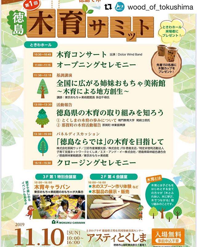 いよいよ明後日11月10日は「第1回徳島木育サミット」️