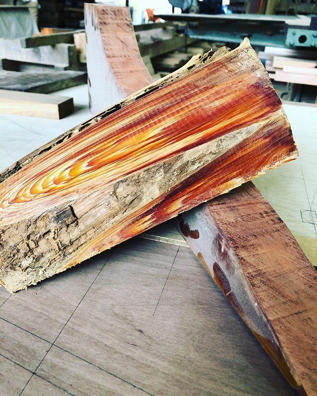 KUKUパドルふるさと納税の返礼品のカスタムオーダーパドルを製作に取り掛かります。まずはそれぞれのパーツの材をじっくりと吟味。木頭杉の色味の組み合わせがマッチする様に、ストックされた材料から選んでいます。今回はアクセントにこのレッドウッドを入れます。さてこの木はなんでしょう?#woodboardkuku#paddle #sup#woodart #woodpaddle #woodsup #木頭杉#redwood @nakawood